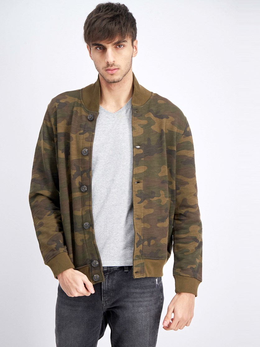 Men's Camo Shawl Collar Sweater, Olive Combo