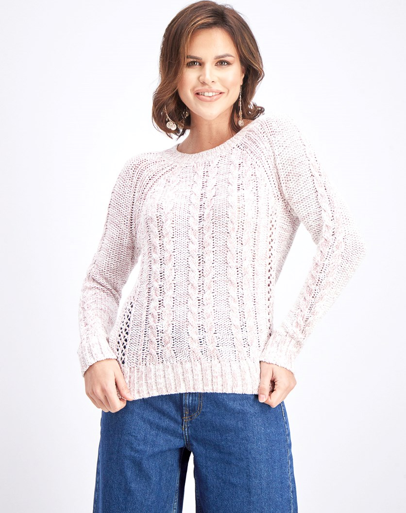 Women's Cable Marled Sweater, Pink/White