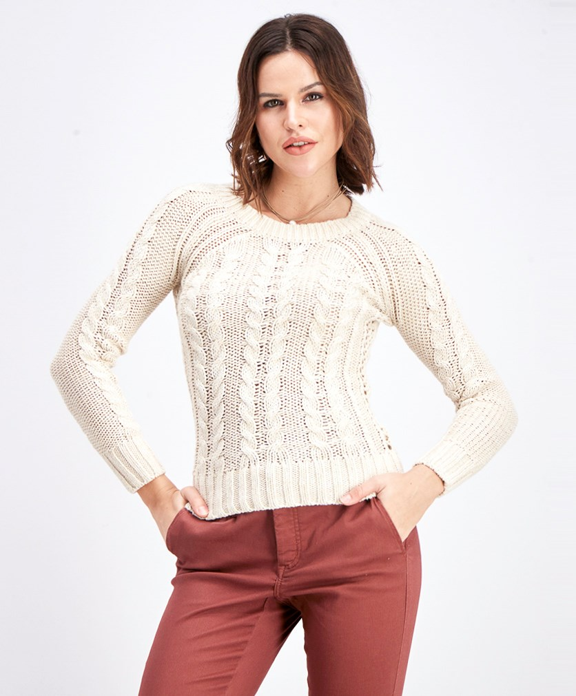 Women's Cable Marled Sweater, Oatmeal