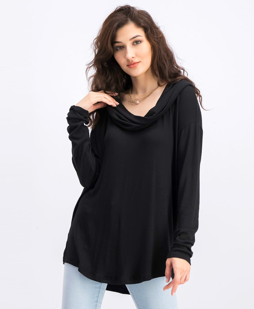 Women's Cowl Longsleeve Sweater, Black