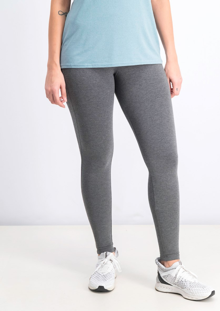 Women's Basic Leggings, Heather Grey