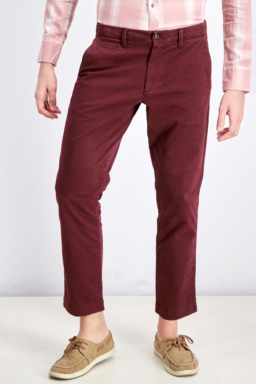 Men's Slim Fit Pants, Burgundy
