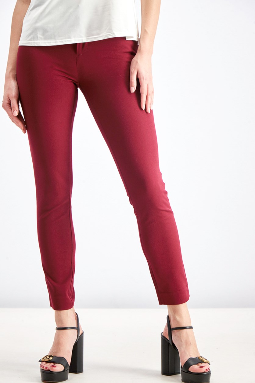 Women's Skinny Ankle Pants, Burgundy