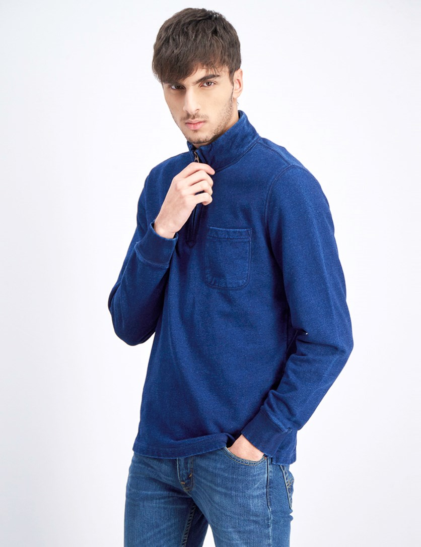 Men's Half Zip Sweater, Navy