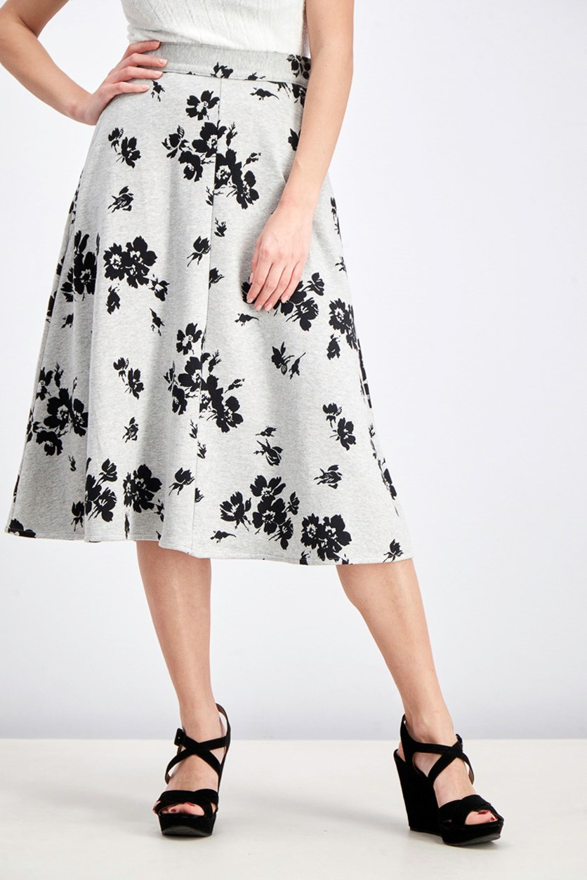 Women's Long Floral Printed Skirt, Grey/Black