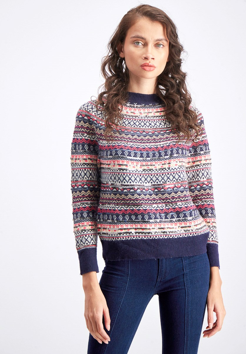 Women's Textured Sweater, Navy Combo