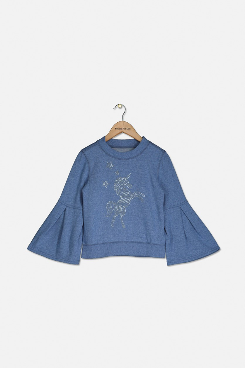 Kids Girl Bell Sleeves Sweatshirt, Indigo Heather