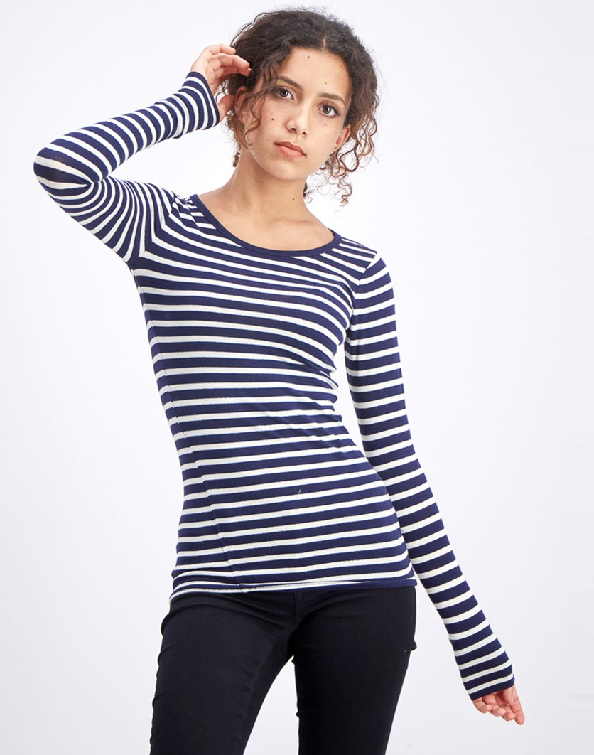Women's Long Sleeve Stripe Tops, Navy