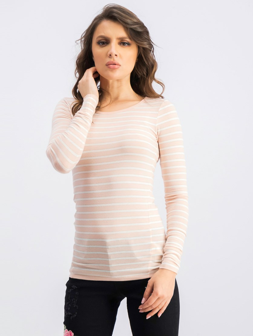 Women's Long Sleeve Stripe Tops, Pink/White