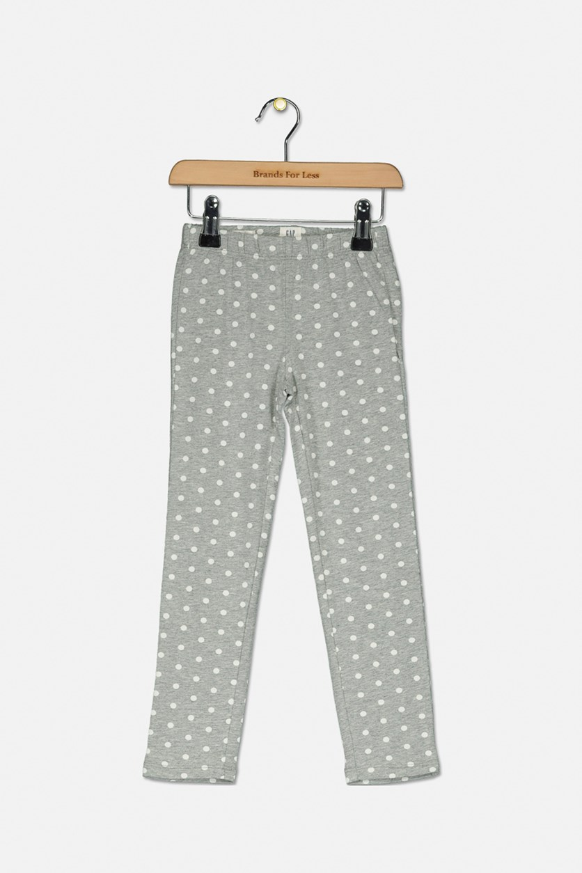 Girl's Polka Dots Print Leggings, Grey/White