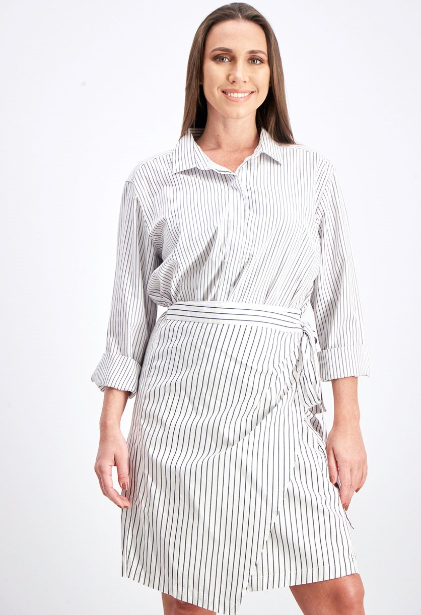 Women's Stripes Pull On Dress, White