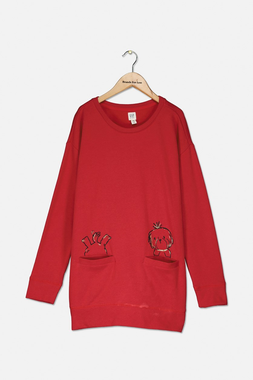 Kids Girls Graphic Sweater, Red