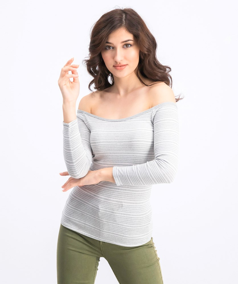 Women's Stripe Top, Grey/White