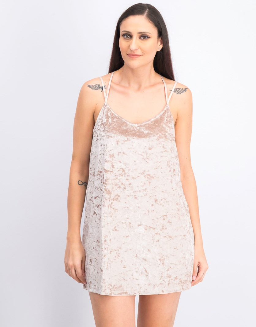 Women's Velvent Dress, Light Rose