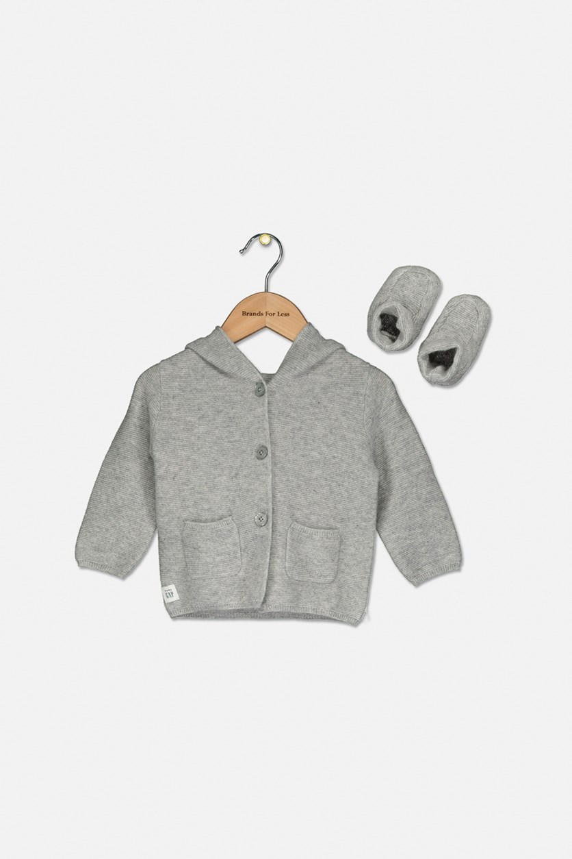 Baby Boys Bear Cashmere Cardigan Sweater & Booties, Light Grey Heather