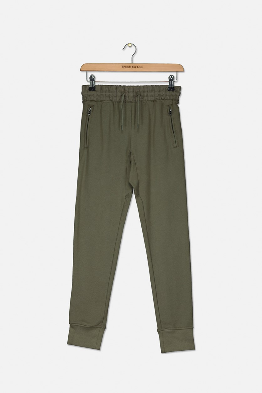 Kids Zipper Pocket Jogger Pants, Olive