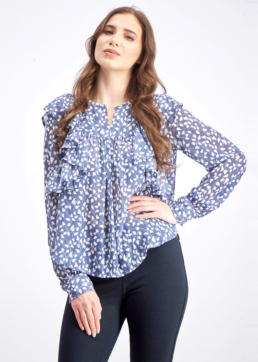 Women's Allover Printed Top, Blue/White