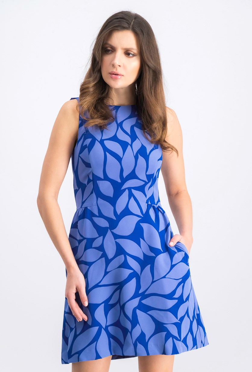 Women's Allover Printed Dress, Blue