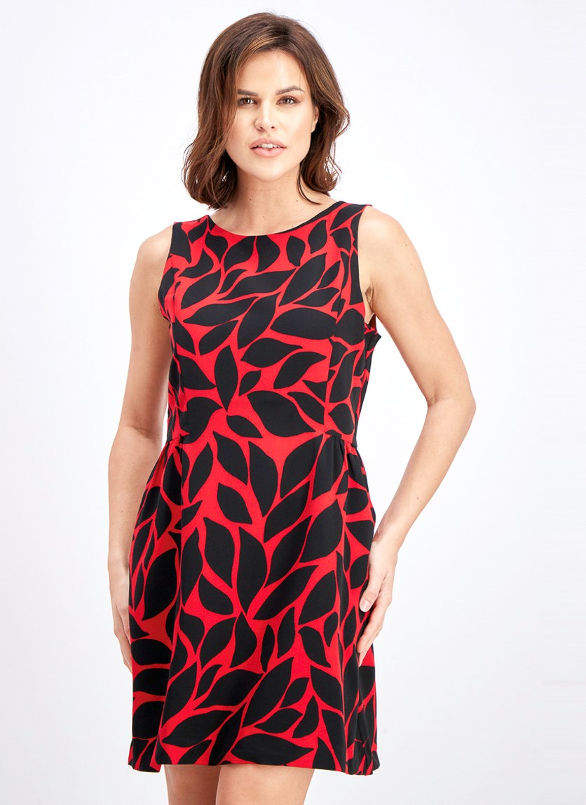 Women's Allover Printed Dress, Red/Black