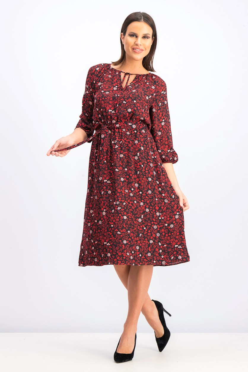 Women's Printed Dress, Black/Red