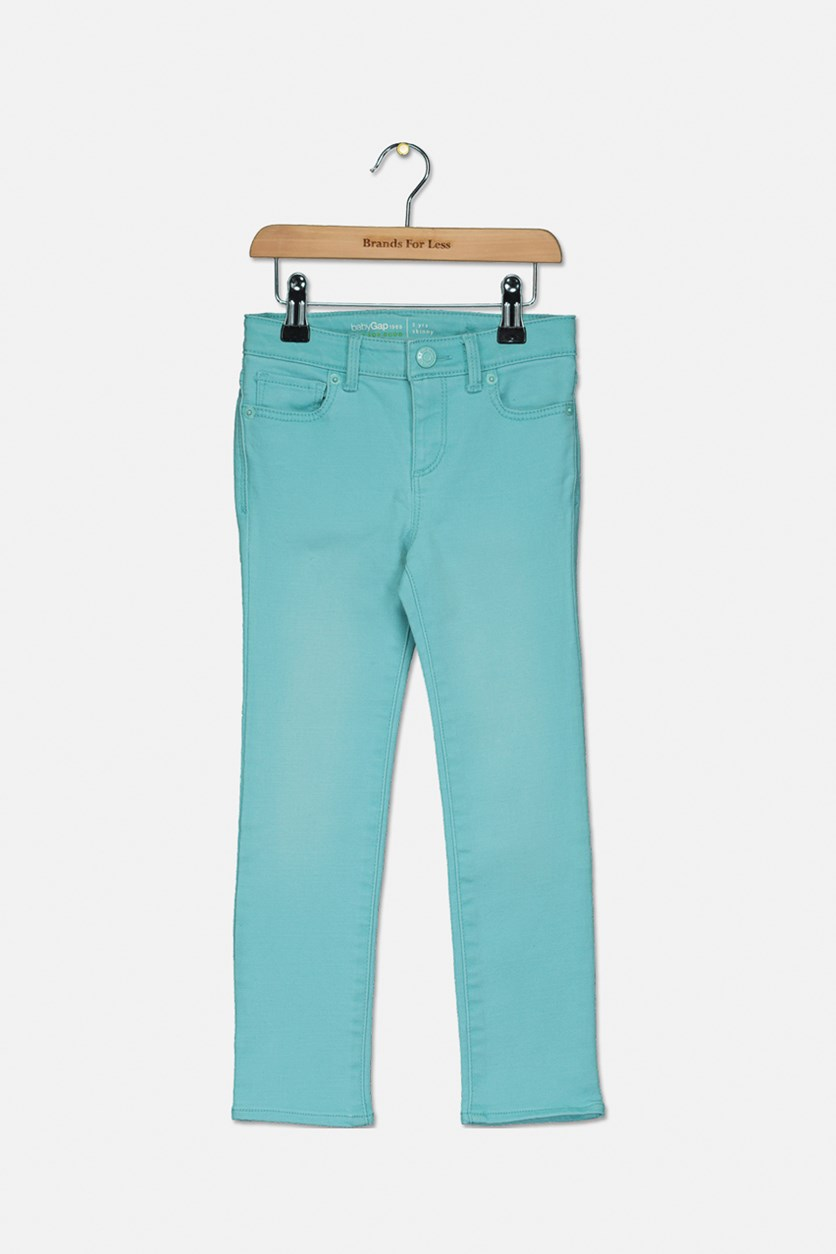 Kids Girls Skinny Jeans, Aqua Blue