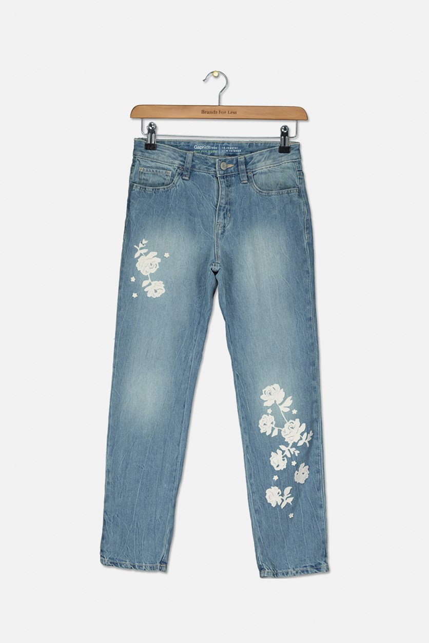 Girl's Floral Detail Girlfriend Jeans, Wash Blue