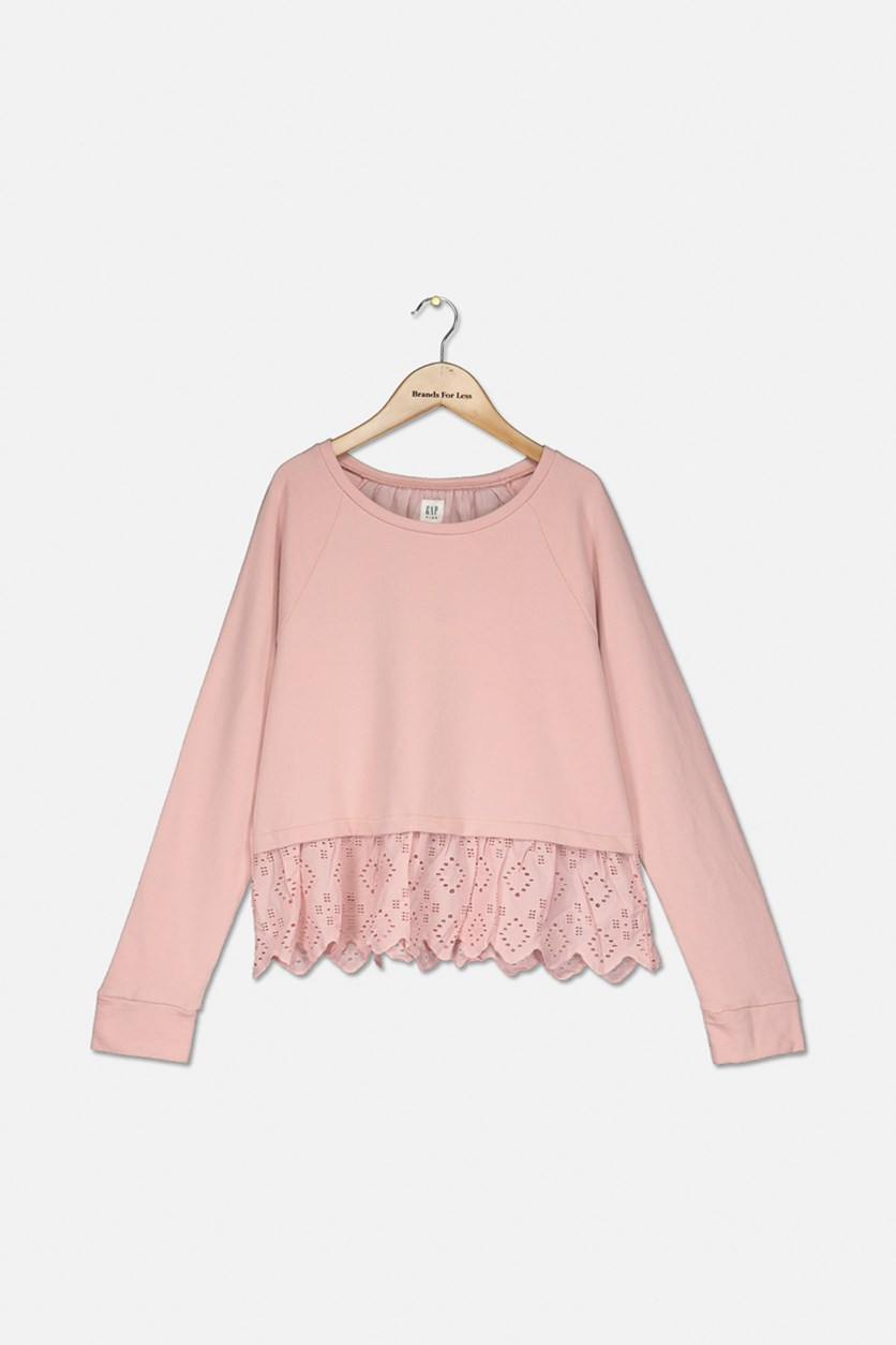 Kids Girls Long Sleeve Top, Light Pink