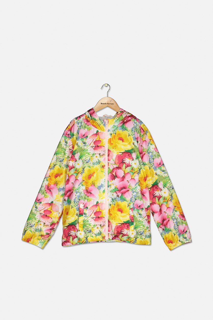 Girl's Floral Jersey Windbreaker Jacket, Yellow/Red/Pink Combo