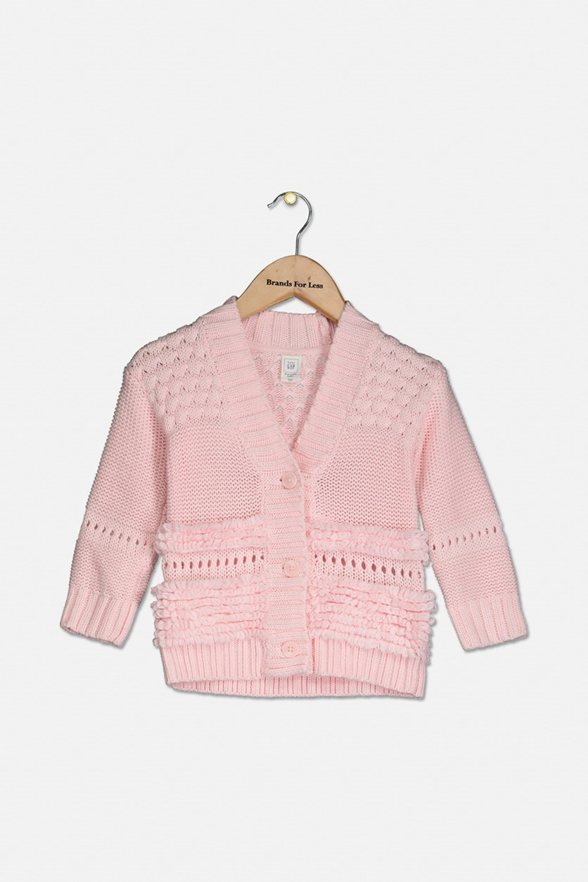 Toddler Girls Knitted Button Down Cardigan, Pink