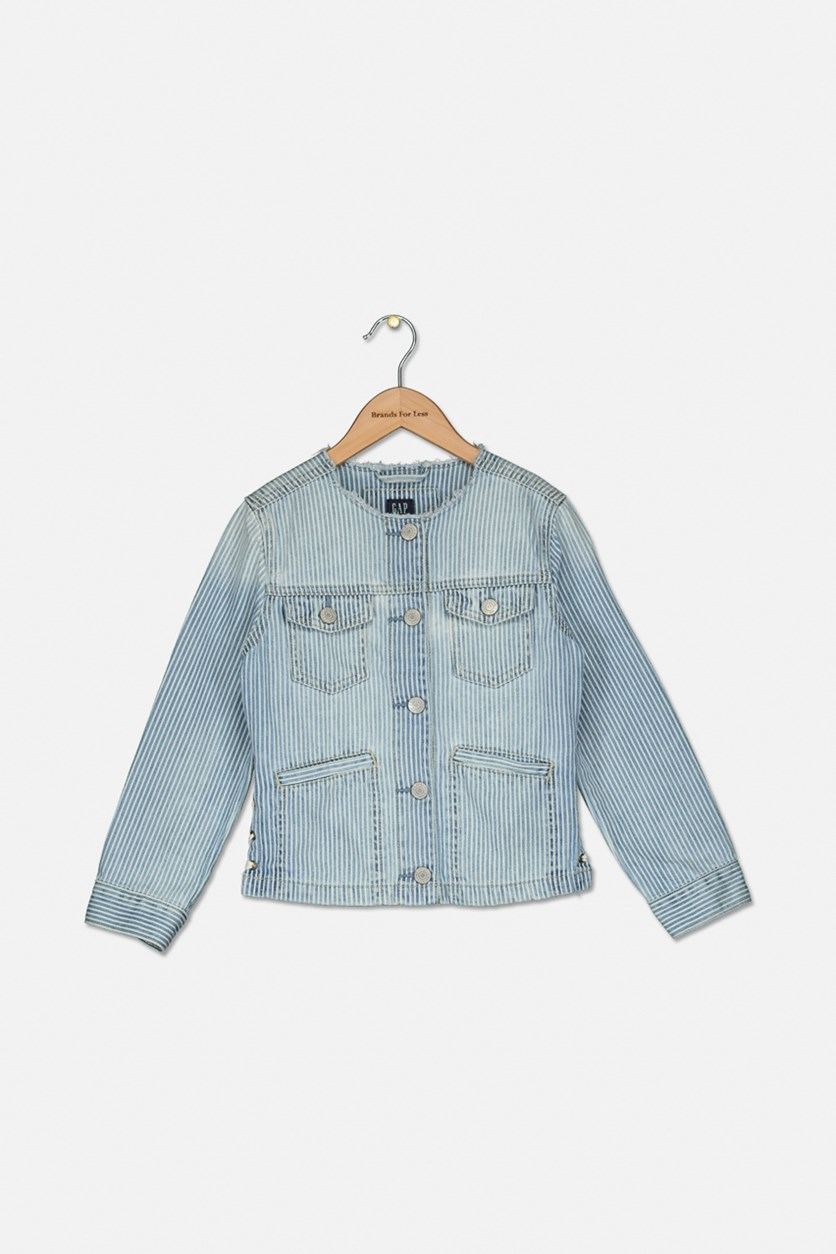 Girl's Railroad Stripe Lace-Up Denim Jacket, Wash Blue/White