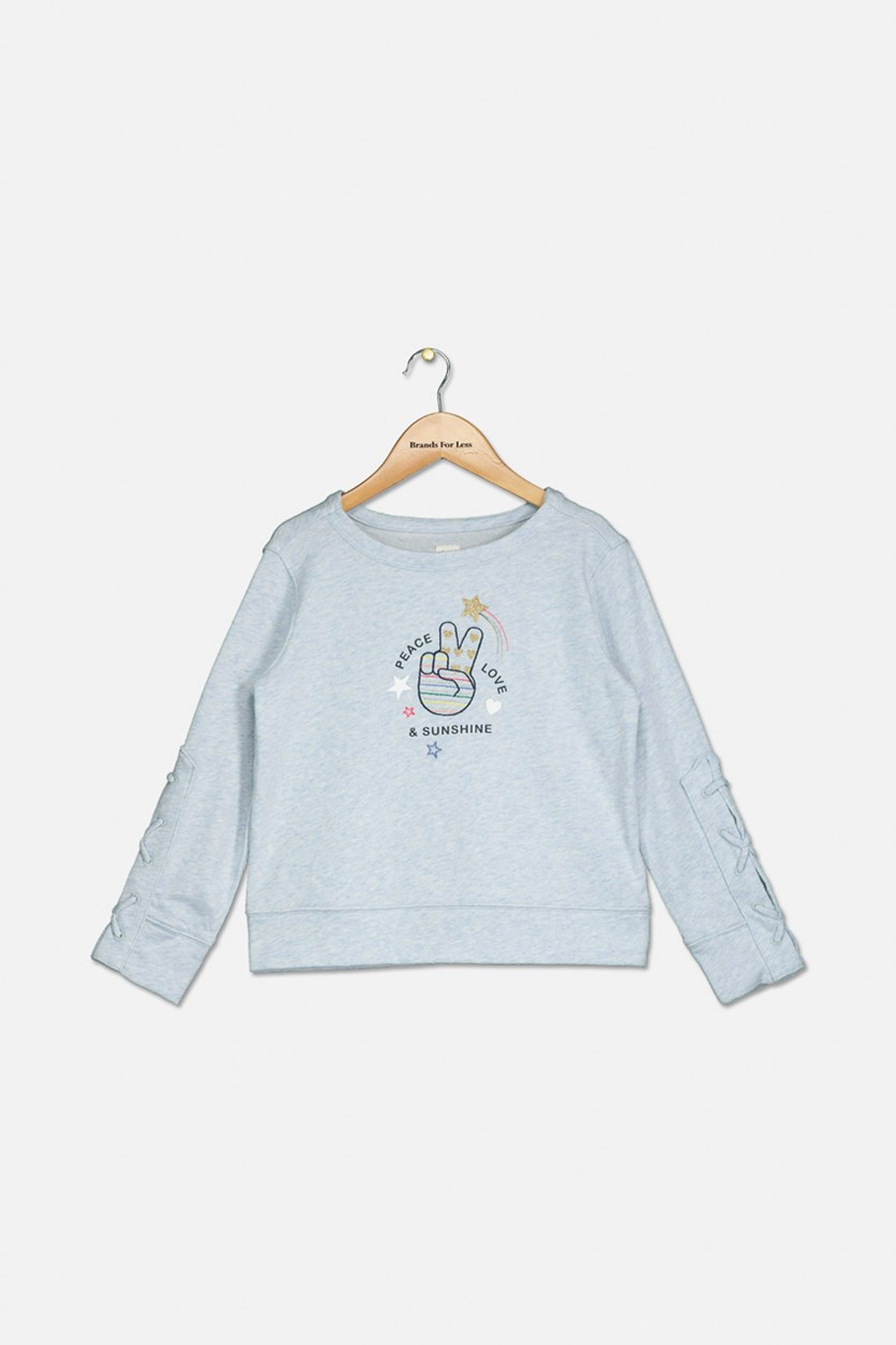 Girl's Lace Detail Graphic Pattern Sweatshirt, Light Blue
