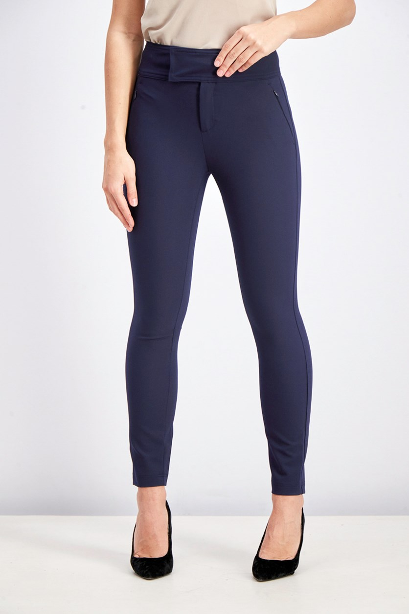 Women's Wide Waistband Pants, Navy
