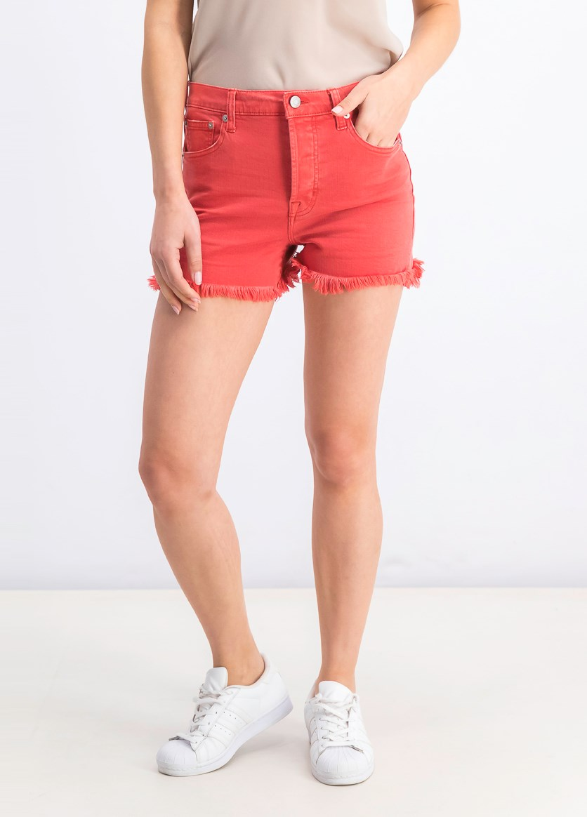 Women's Denim Short, Faded Red