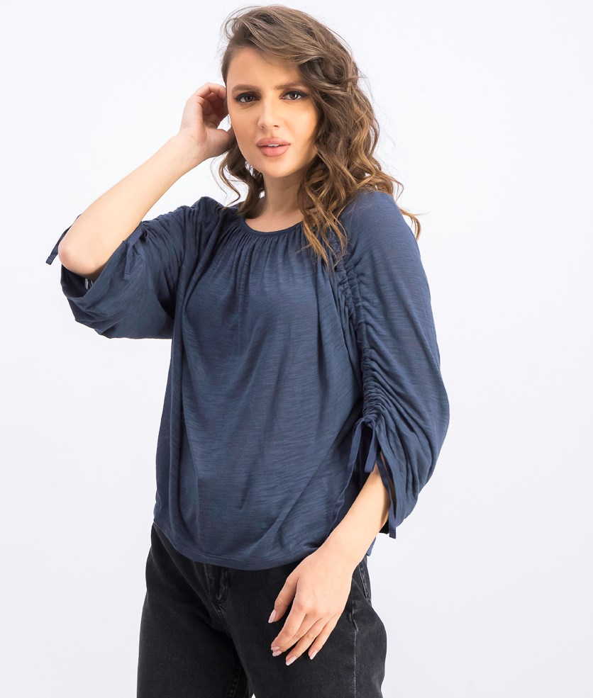 Women's Long Sleeve Tie Tops, Vintage Navy