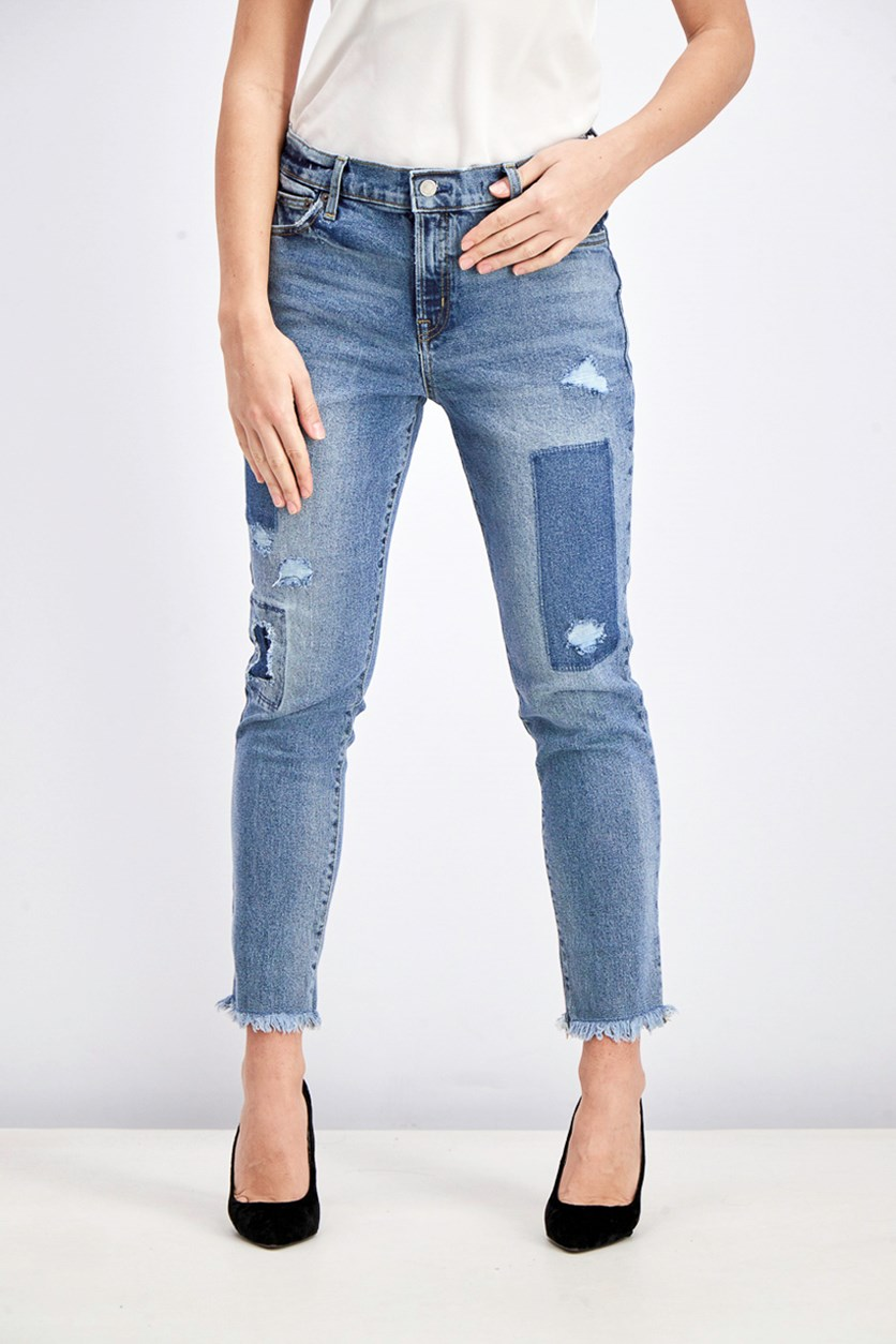 Women's True Skinny Ankle Rip Jeans, Washed Blue