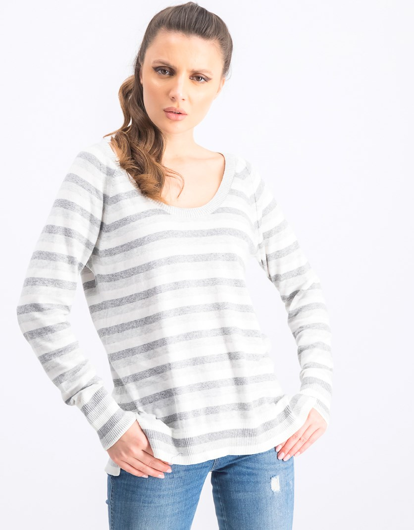 Women's U Neck Raglan Sweater, Grey/White