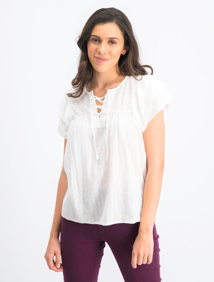 Women's Tiered  Top, White