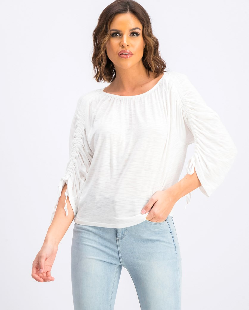 Women's Long Sleeve Tie Tops, White