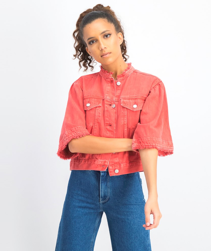 Women's Soft Denim Jacket, Red
