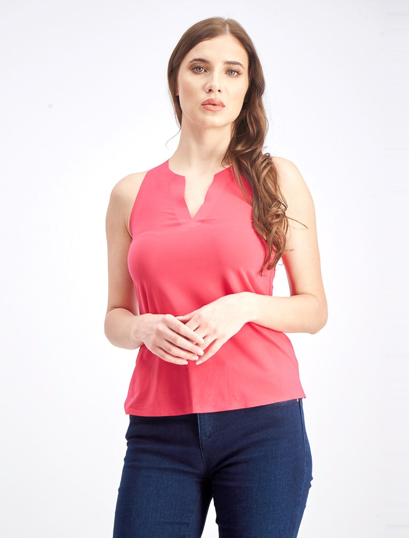 Women's Split Neck Blouse, Dark Pink