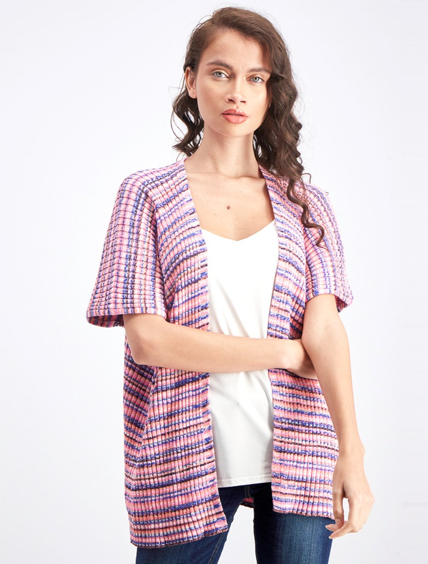 Women's Space Dye Cardigan, Pink Combo