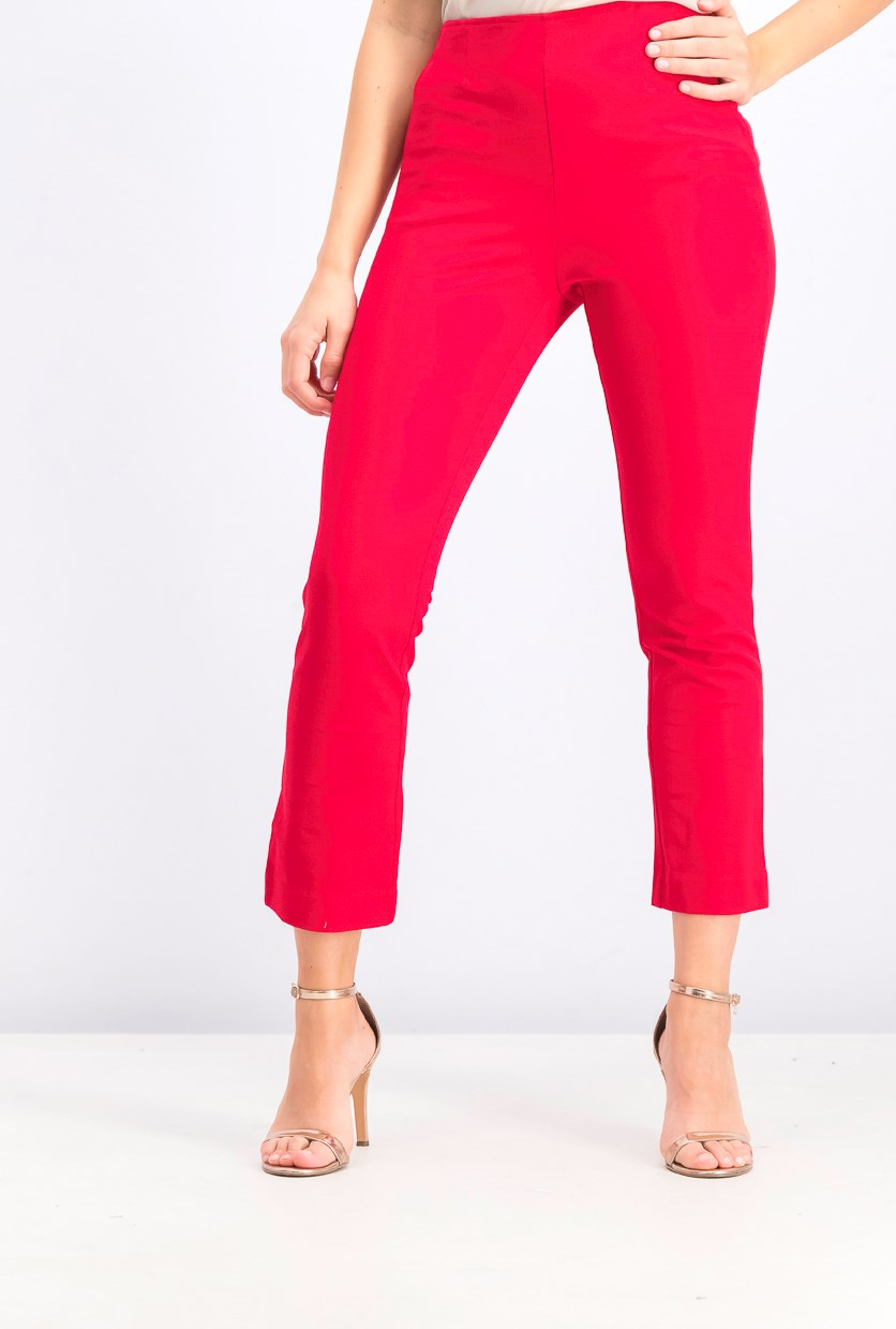 Women's Crop Flare Pants, Red Apple