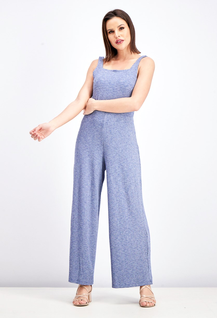 Women's Sleeveless Jumpsuit, Quiet Blue