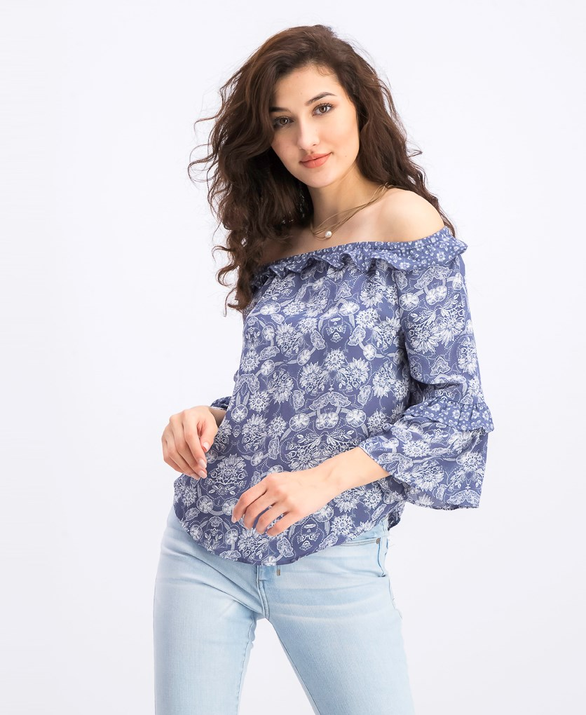 Women's Graphic Printed Tops, Blue/White