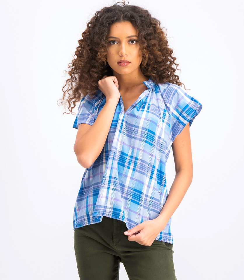 Women's Plaid Tops, Blue Combo