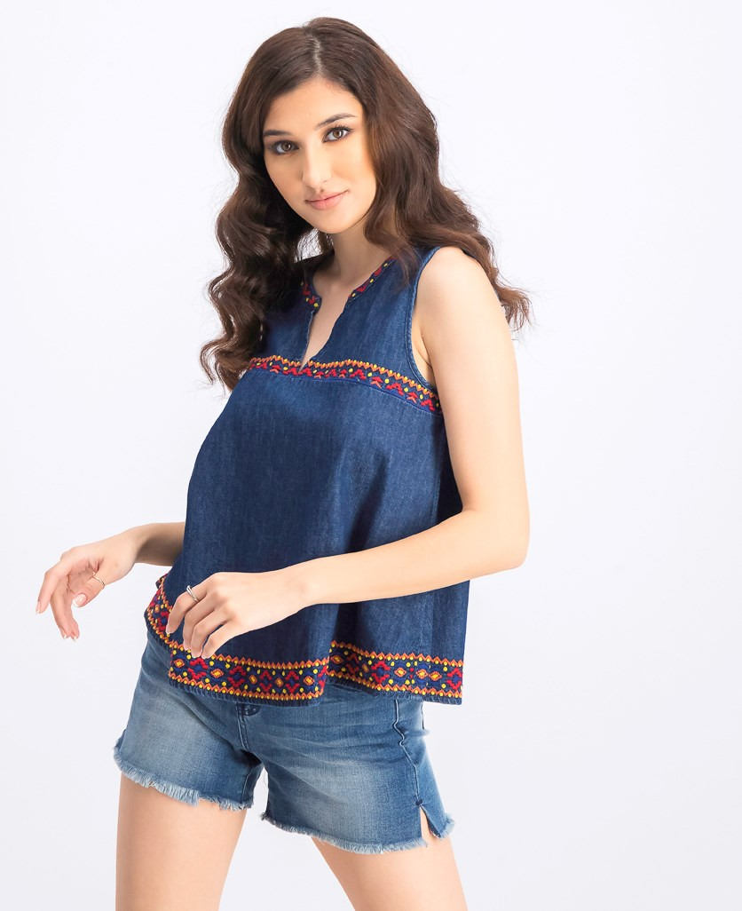 Women's Sleeveless Denim Top, Navy