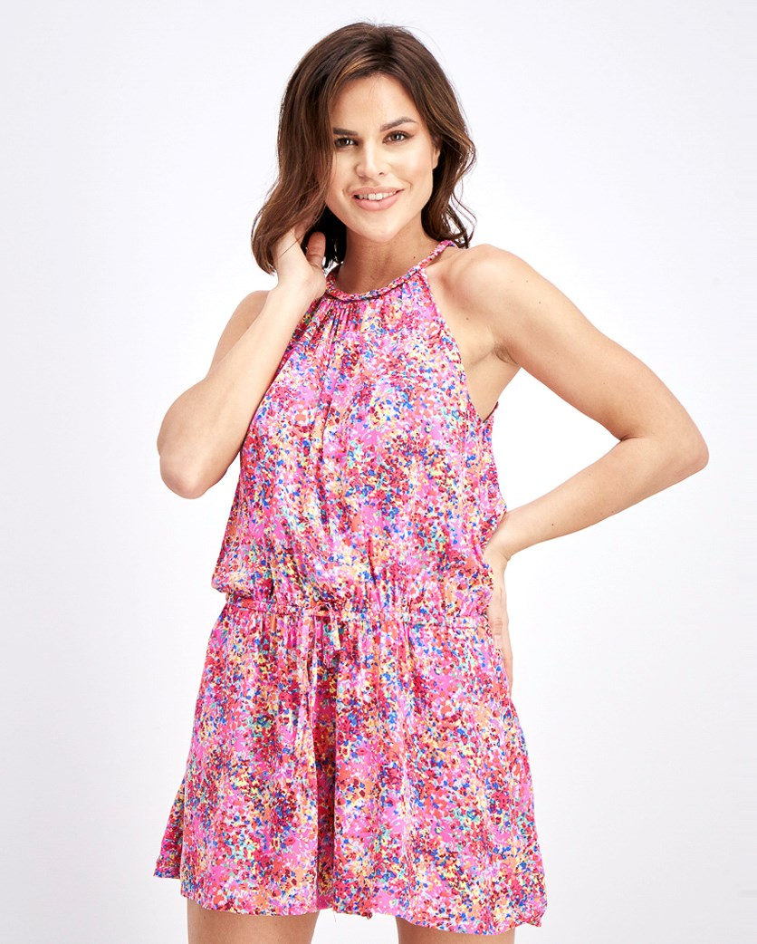 Women's Allover Printed Playsuit, Pink Combo