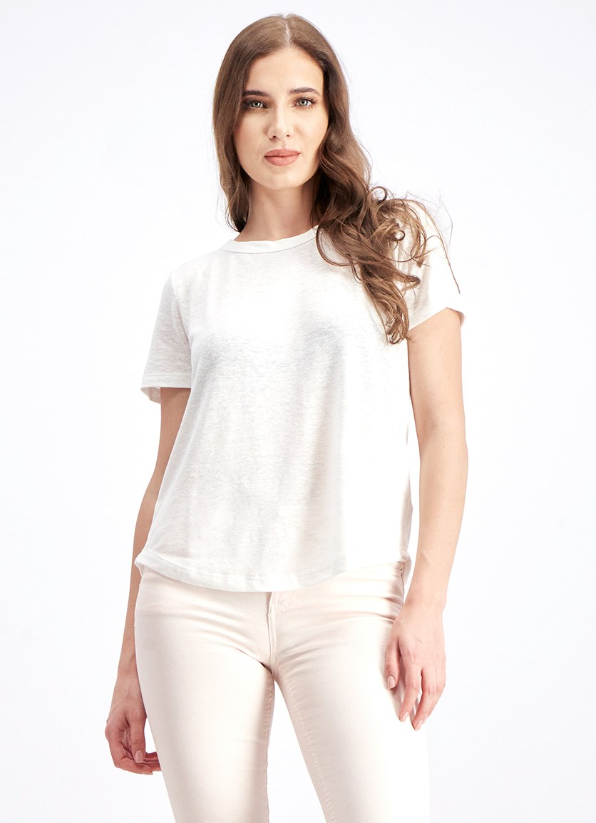 Women's Linen Blend Tops, White