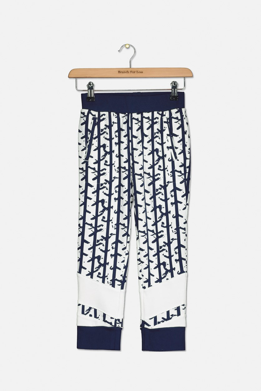 Boy's All Over Print Pants, Navy/White Combo