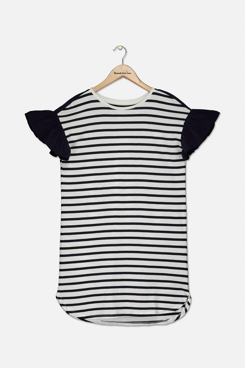 Girl's Stripe Dress, Navy/White